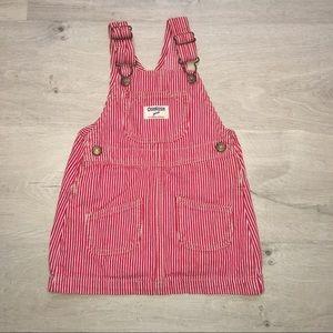 Osh Kosh B'Gosh Red White Striped Overall dress 3t